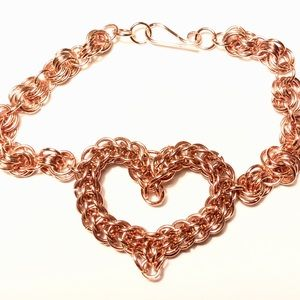 Jewelry - Rose Gold Persian Chainmaille Heart Bracelet